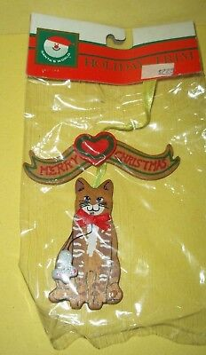 "Wooden Cat w/Mouse Christmas Ornament w/Merry Christmas Banner -3 3/4"" tall -NIP"
