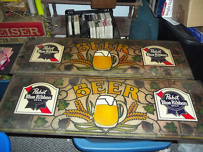 Pair Ofvintage 1970's  Pabst Blue Ribbon Pool Table Light Sides Advertising Used