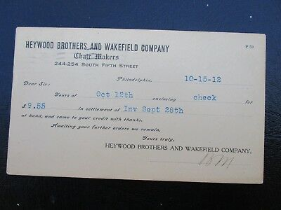 1912 Wakefield and Heywood brothers Chair Maker's/Phila.,Pa.,Signed Card!