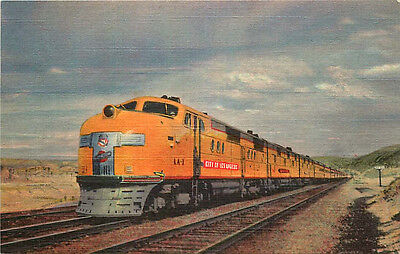 "Linen Postcard Union Pacific Streamliner ""City of Los Angeles"" Train"