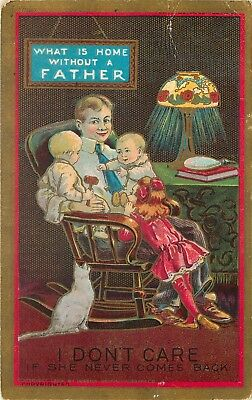 Womens Suffrage Suffragette Home without a Father Wife Left Home Postcard
