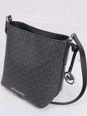 3500a659d573 Nwt Michael Kors Mk Logo Kimberly Small Bucket Crossbody Bag Black Silver  Hdwr