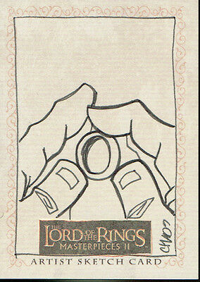 Lord Of The Rings Masterpieces 2 Sketch Card Of The One Ring By Chad Hurd