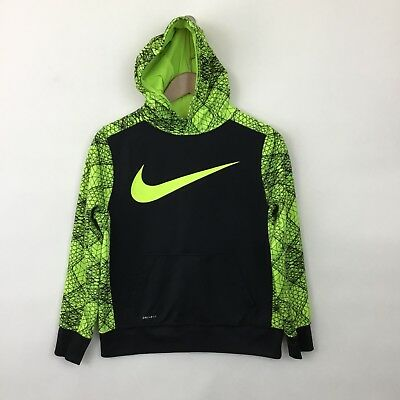 Nike Dri-Fit hoodie sweatshirt Boys Large black bright yellow pattern pullover
