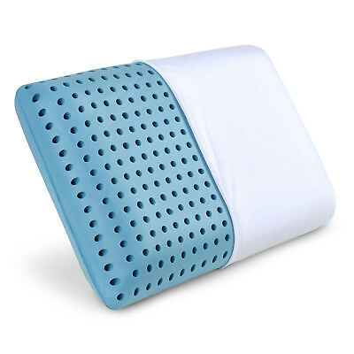 LunaBLUE Memory Foam Pillow - Ventilated Bed Pillow Infused with Cooling Gel