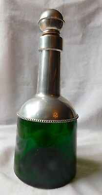Vtg Silver  & Green Glass Liquor Decanter Made In France Must See !!