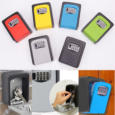 4 Digit Combination Password Key Box Wall Mount Safety Lock Organizer Case