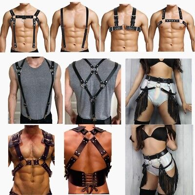 Unisex PU Leather Body Chest Harness Adjustable Belt Costumes Fetish Club Wear