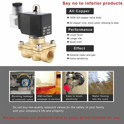 AC 220V Square Coil Pure Copper Direct Acting Water Air Great Solenoid Valve GO