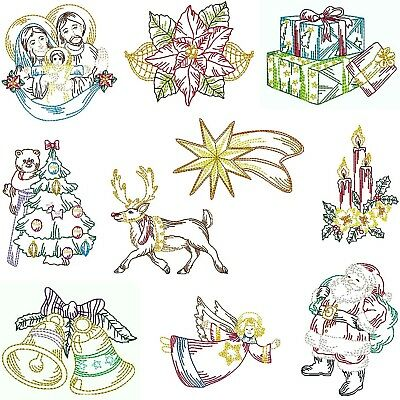 Christmas Collections ~ 10 Designs, Machine Embroidery Designs, 4 Formats