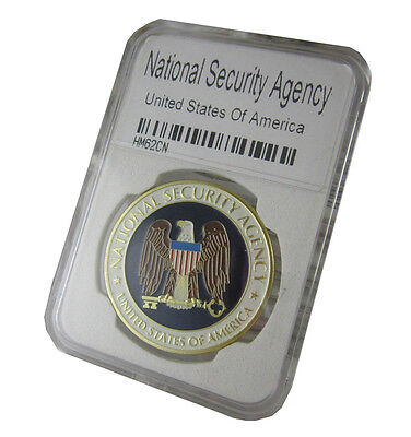 NSA National Security Agency Colorized Challenge Coin with Plastic case