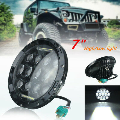 7'' Faro Moto Projector LED Luce Headlight For Jeep Harley Black IP68