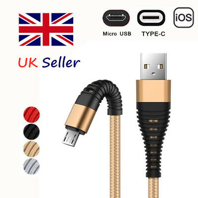 UK Braided Cable IOS type-c Micro USB Charger For iPhone  8 7 6 X Samsung S8 S9