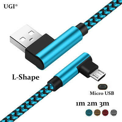 UGI 1/2/3M Micro USB Cable 90° Elbow Aluminium Braid 2A Data Sync Charging Cable