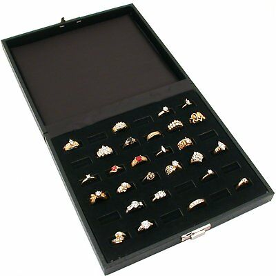Two Findingking 36 Slot Ring Trays Black Travel Jewelry Showcase Display 2 Pcs