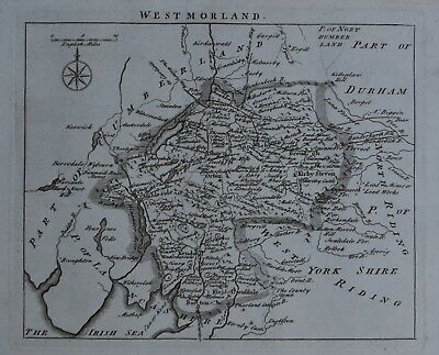 c1769, Westmorland, John Rocque, Original Antique Map
