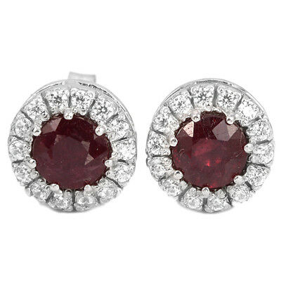 10X10Mm. Genuine Aaa Blood Red Ruby Round & White Cz Sterling 925 Silver Earring