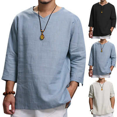 AU Retro Plus Size Mens Loose Chinese Style Shirts V-neck Solid Tops Tees Jumper