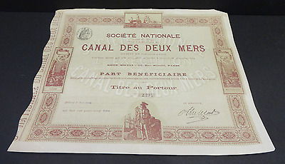 Antique 1891 SOCIETE NATIONALE CANAL DES DEUX MERS France French Stock Share