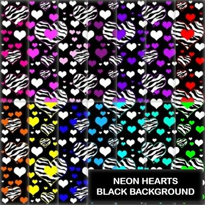 NEON HEARTS BLACK BACKGROUND SCRAPBOOK PAPER - 14 x A4 pages