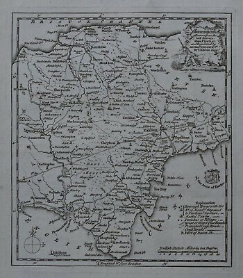 c1769, Devonshire, Thomas Kitchin, Original Antique Map of Devon
