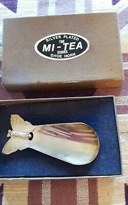 Silver Plate Plated The Mi-Tea Series Shoehorn  Shoe Horn Butterfly