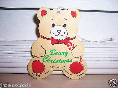 "RUSS Bear ""BEARY CHRISTMAS"" Wooden Holiday Ornament 3 1/4"" Taiwan"