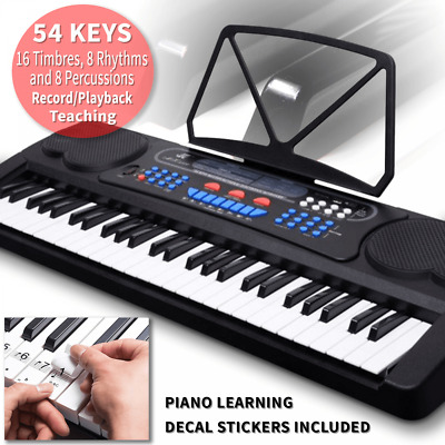 Electronic 54 Key Piano Keyboard with Record Playback Teaching Function & Decals