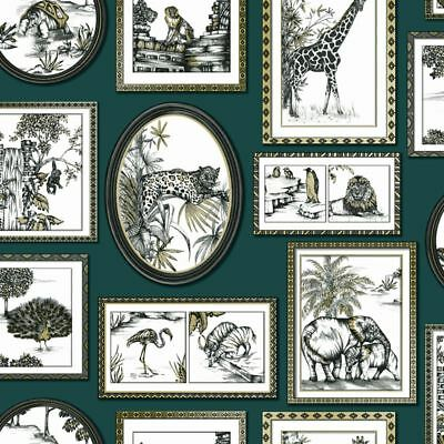 Safari Frames Wallpaper Emerald Green / Gold - Holden 90070