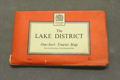 Vintage 1963 Ordnance Survey The Lake District One-Inch Tourist Map (Paper)