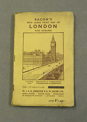 Vintage Bacon's New Large Print Map of London and Suburbs (Paper)