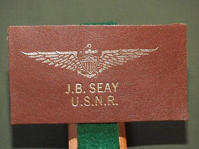 US Navy WW2 PILOT J.B. SEAY BROWN LEATHER NAVAL AVIATOR WINGS NAME BADGE N/MINT