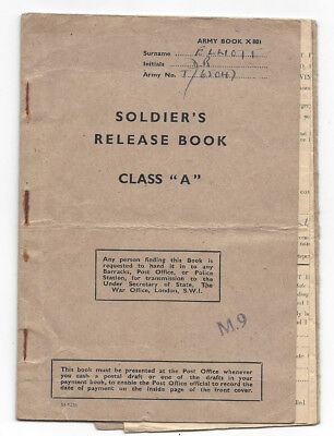 WW2 RASC Soldiers Release Book 1945