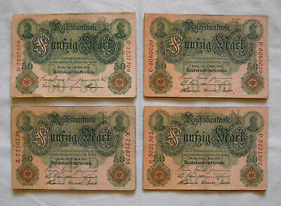 Lot with 36 x 50 Mark Money/Banknote from German Land 1910, in used Condition !!