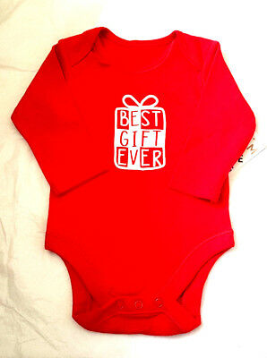 Baby Unisex Christmas Best Gift Ever Long Sleeve  Bodysuit  NB 0 3 6 9 Mths Bnwt