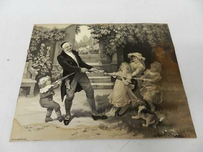 """""""A Tug of War"""" French Antique Fred Morgan Woven Silk Jacquard Picture 1906"""