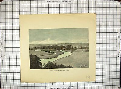 Original Old Antique Print Hand Coloured Great Marlow Quarry Woods River Scene