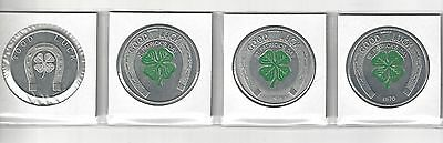 1960s GOOD LUCK HORSESHOE FOUR LEAF CLOVER ST. PATRICK'S IRISH COINS TOKEN LOT