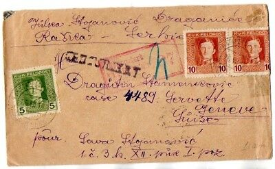 Austrian Occ. Serbia:  1918 cover to Geneva from Rasica with censors