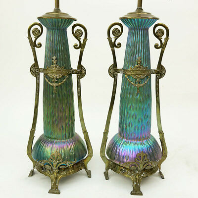 An Impressive Pair Of Loetz Sea Urchin Art Nouveau Bohemian Art Glass Lamps