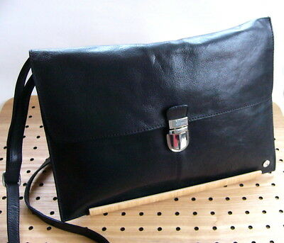 SADDLER - edle Leder Messenger Bag Laptop TASCHE BLACK Leather Computer Bag