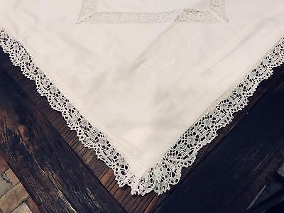 Excellent Vintage Pair European 30x30 No Mono Lace Edge & Insert Pillow Shams S6
