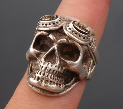 Old Collection Tibet Silver Hand-Carved Skull Statues Rings Decorated With Men