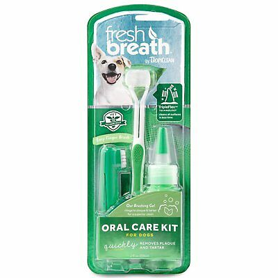 TropiClean Fresh Breath Plaque Remover Oral Care Kit for Dogs Large 2 oz