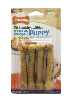 Nylabone Healthy Edibles Puppy | Sweet Potato and Turkey Petite | 4 Treat Bones