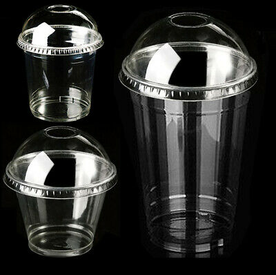 Clear PET Cups Pots with Lids BPA Free Smell Free Strong/Sturdy Secure Close