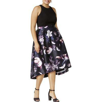 City Chic Womens Hi-Lo Floral Print Pleated Formal Dress Gown Plus BHFO 1207