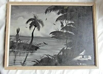 Vintage 1964 Kenya Black & White Painting (Signed B.P.RR)