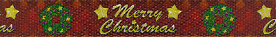 Country Brook Design® 1 Inch Merry Christmas Polyester Webbing, 50 Yards