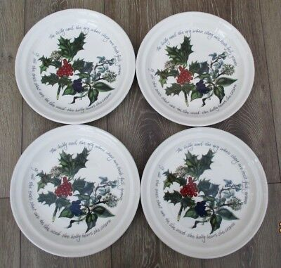 """Portmeirion Holly & The Ivy Dinner Plates 10.5"""" x 4 - used once"""
